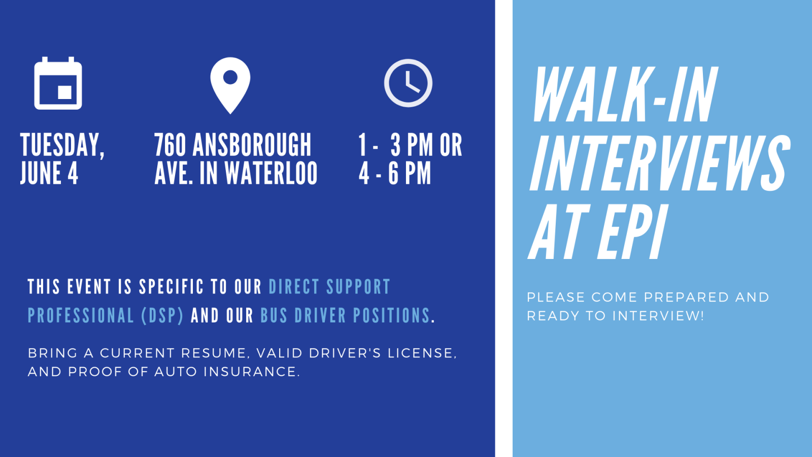 Walk-In Interviews at EPI