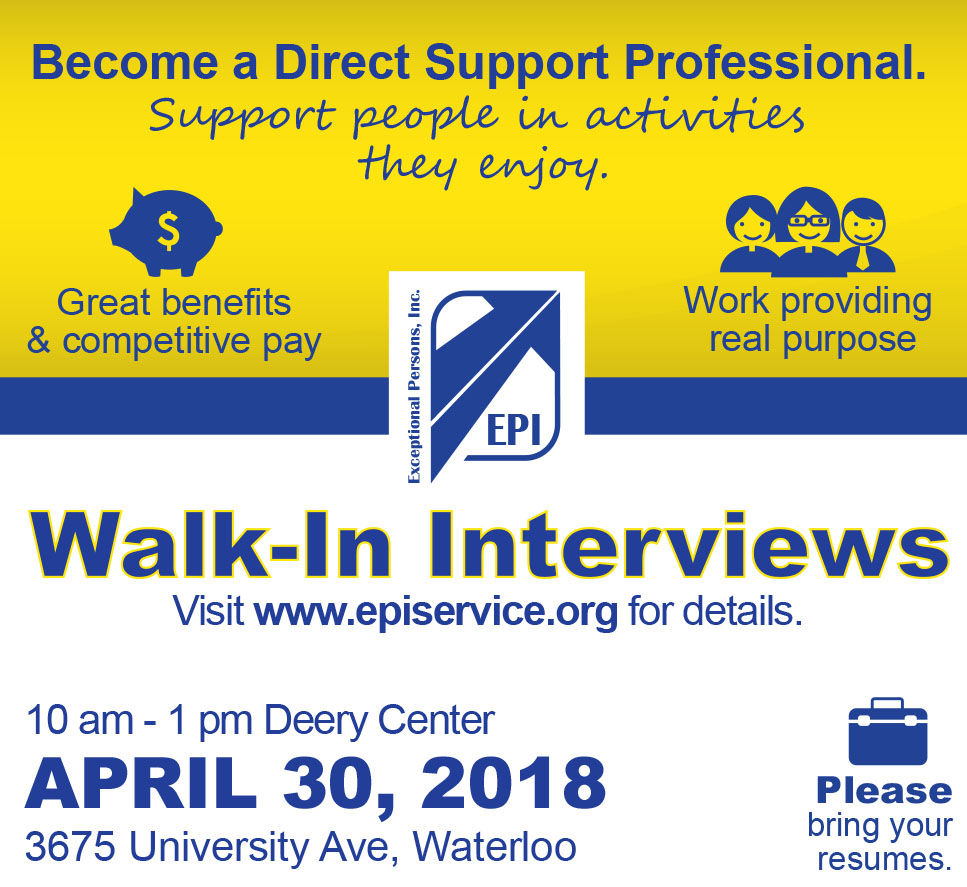 Walk-in & Interview With Us April 30